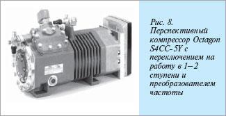 Полугерметичный поршневой холодильный компрессор OCTAGON с переключением режимов работы: одноступенчатый - двухступенчатый