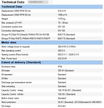 Полугерметичный компрессор Bitzer CSH9593-240Y